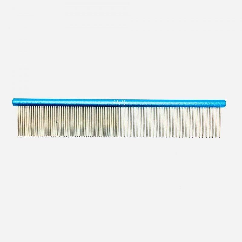 """10"""" Blue Aluminum 50/50 Round Spine Comb"""