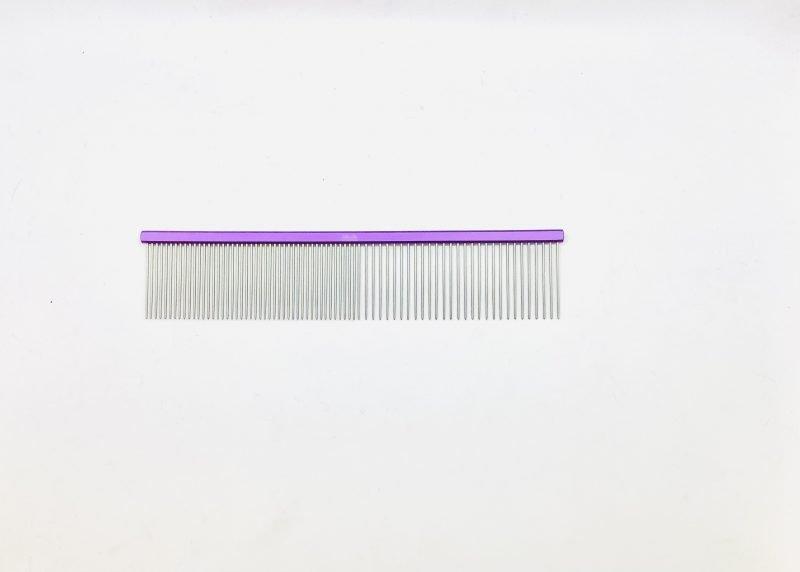 "Pet Grooming Comb 7.5"" Coarse/Fine, Purple Coloured 1"