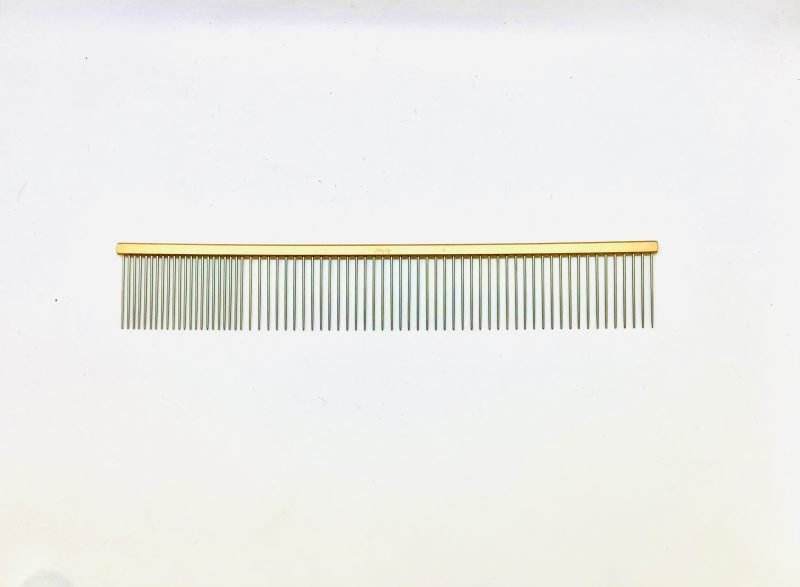 "Pet Grooming Comb 9.5"" Coarse/Fine, Gold Coloured 1"