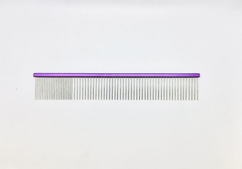 "Pet Grooming Comb 9.5"" Coarse/Fine, Purple Coloured 1"